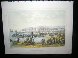 Japan Perry Expedition 1856 Antique Print. First Landing at Gorahama